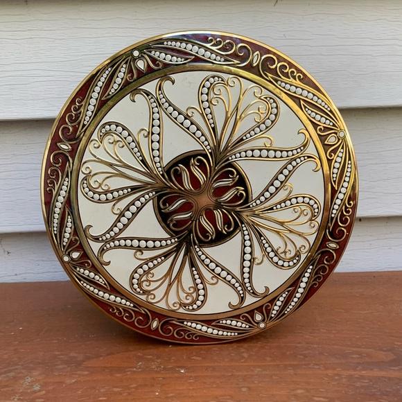 Vintage Lidded Metal Floral Tin